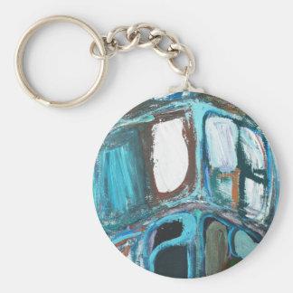 Abstract Round Bold City Blocks Keychain