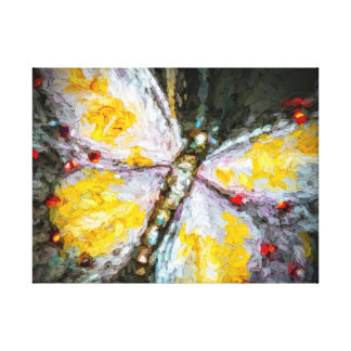 Abstract Ruby Jeweled Yellow Butterfly Painting Canvas Print