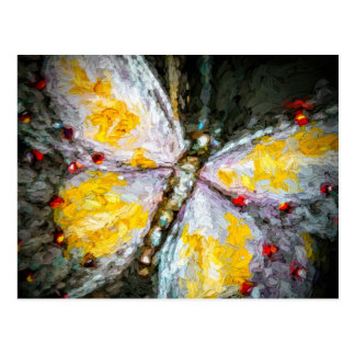 Abstract Ruby Jeweled Yellow Butterfly Painting Postcard