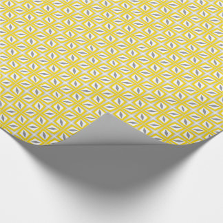 Abstract Safari Leaf Pattern Yellow and Grey Wrapping Paper