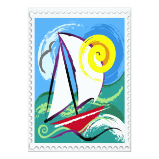 """Abstract Sailboat and Sun Stamp 5"""" X 7"""" Invitation Card"""