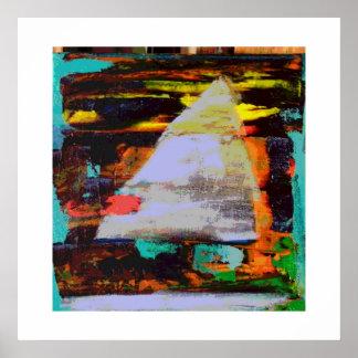 Abstract Sailboat at sunset Poster