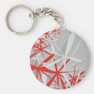 Abstract sakura starburst flower fan graphic keychain