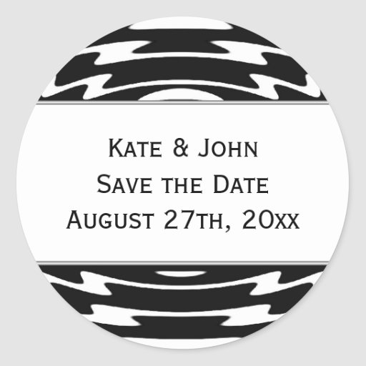 Abstract Save the Date wedding sticker seal