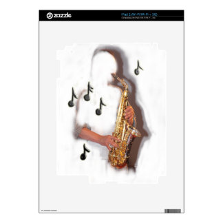 Abstract Saxophone player, music and instrument iPad 2 Decals