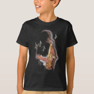 Abstract Saxophone player, music and instrument T-Shirt