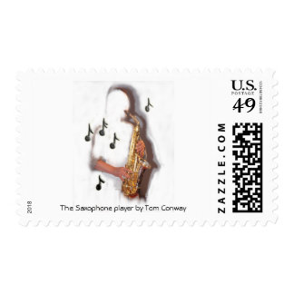 abstract saxophone player music instrument stamp