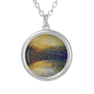 Abstract sci-fi alien worlds silver plated necklace