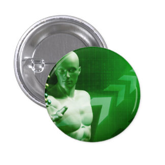 Abstract Science Background with Atomic Research Button