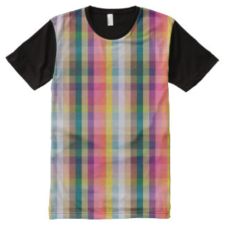 Abstract Scottish Plaid All-Over Print T-shirt