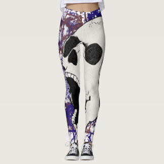 Abstract Screaming Skull Crazy Leggings