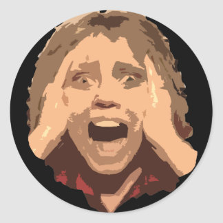 Abstract Screaming Woman Portrait Classic Round Sticker