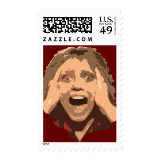 Abstract Screaming Woman Portrait Postage Stamp