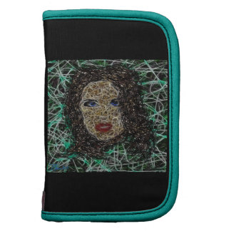 Abstract Scribble Art Nightmare Womans Face Folio Planner