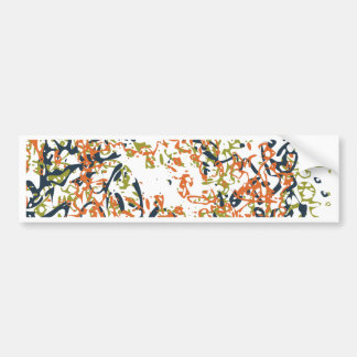 Abstract Scribble Design in Orange and Blue Bumper Sticker