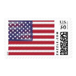 Abstract Scribble Stitching USA Flag Postage Stamp