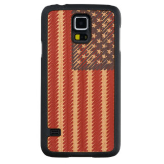 Abstract Scribble USA Flag Carved Cherry Galaxy S5 Case