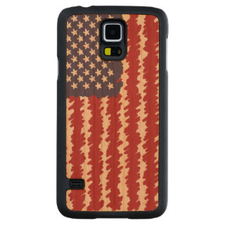 Abstract Scribble USA Flag Pattern Carved Cherry Galaxy S5 Case