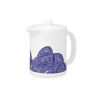Abstract Scribbleprint Blue Teapot