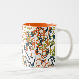 Abstract Scribbly Mug in Orange and Blue