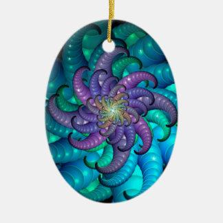 Abstract Sea Anemone Fractal Art Ceramic Ornament
