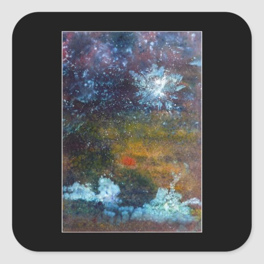 Abstract, Sea at Night. Square Sticker