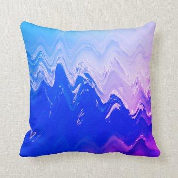 Beach Themed Abstract sea  beach waves blue purple surf throw pillow