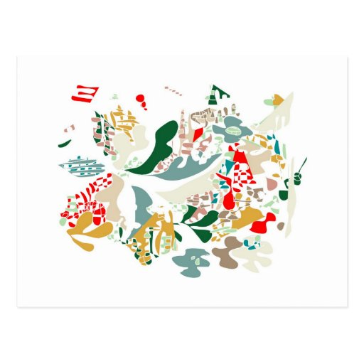 Abstract sea coral postcard