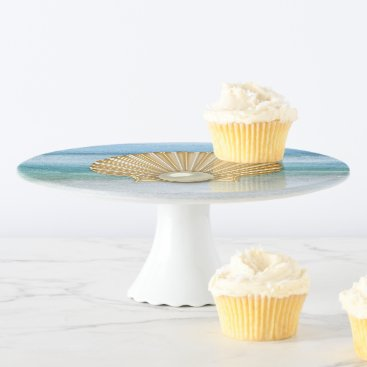 Beach Themed Abstract Sea Golden Pearl Seashell Cake Stand