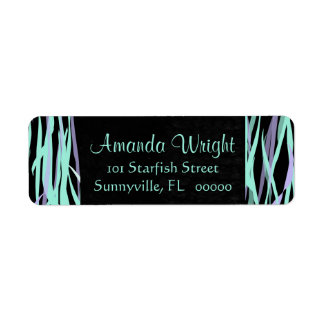 Abstract Seagrass in Aqua and Lavender Label