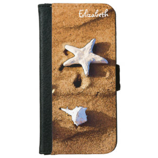Abstract Seashells On Sand iPhone 6 Wallet Case