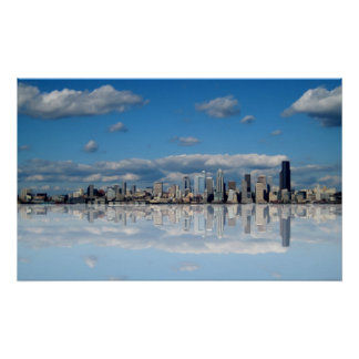 Abstract Seattle Skyline Print