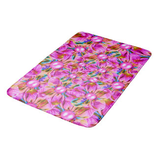Abstract sewn pink flowers bath mat