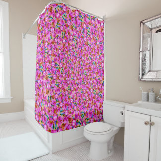 Abstract sewn pink flowers shower curtain