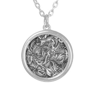 Abstract Shaded Zen Doodle Swirly Lines In Pencil Round Pendant Necklace