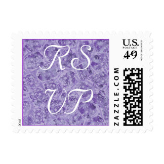 Abstract Shades of Purple RSVP postage stamps