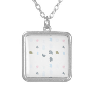 Abstract shapes pattern in pastel colors 2 silver plated necklace