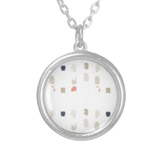 Abstract shapes pattern in pastel colors 3 silver plated necklace