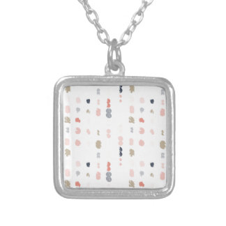 Abstract shapes pattern in pastel colors. silver plated necklace