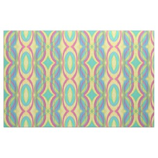 Abstract Shapes Pattern Pink Yellow Green Blue Fabric