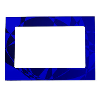 Abstract Shattered Blue Glass Magnetic Picture Frames