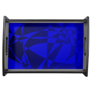 Abstract Shattered Blue Glass Serving Platters