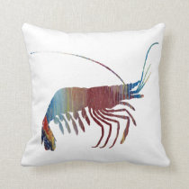 Abstract Shrimp silhouette Throw Pillow