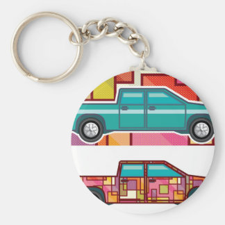 Abstract shrink wrapped pickup truck Vector Keychain