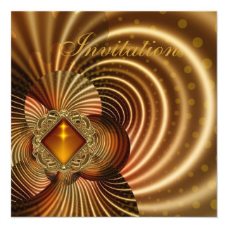 Abstract Silk Amber Gold Jewel Invites