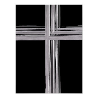 Abstract Silver Christian Cross Poster