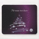Abstract Silver Christmas Tree on Glowing Purple Mouse Pad