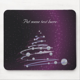 Abstract Silver Christmas Tree on Glowing Purple Mousepads