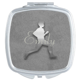 Abstract Silver Jogger Athletics  Add Name Mirror