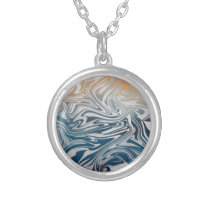 Abstract silver liquid pattern silver plated necklace